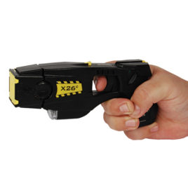 26002: Taser X26C Kit Black w/Black Grip Plates with Laser, LED, 6 Live Cartridges, Soft Carry Holster, Target.