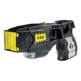 26009: Taser X26C Kit Black w/Silver Grip Plates with Laser, LED, 6 Live Cartridges, Soft Carry Holster, Target.