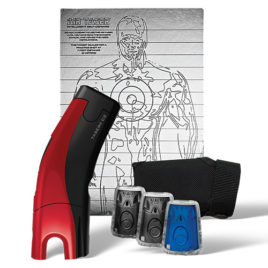 39030: Taser C2 Gold Kit, Red C2 with laser, LED, 2 live cartridges, 1 training cartridge, 1 holster, lithium power magazine, and target.