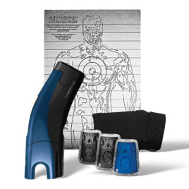 39031: Taser C2 Gold Kit, Blue C2 with laser, LED, 2 live cartridges, 1 training cartridge, 1 holster, lithium power magazine, and target.