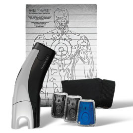 39032: Taser C2 Gold Kit, Silver C2 with laser, LED, 2 live cartridges, 1 training cartridge, 1 holster, lithium power magazine, and target.