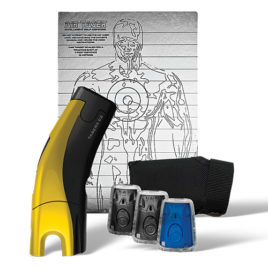 39035: Taser C2 Gold Kit, Yellow C2 with laser, LED, 2 live cartridges, 1 training cartridge, 1 holster, lithium power magazine, and target.
