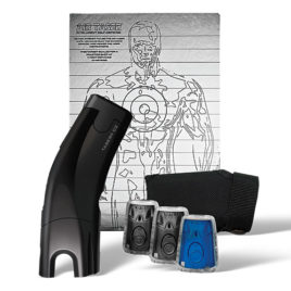 39036: Taser C2 Gold Kit, Black C2 with laser, LED, 2 live cartridges, 1 training cartridge, 1 holster, lithium power magazine, and target.