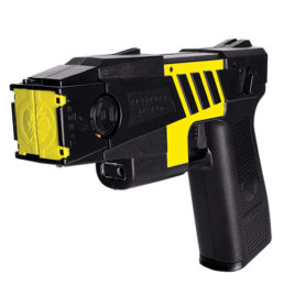 44009: Taser M26C Kit, M26C black with yellow labels, 4 live cartridges, and practice target.
