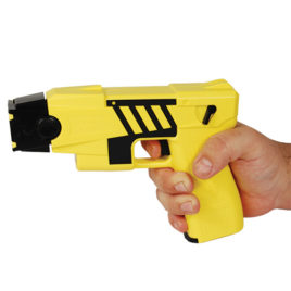 44022: Taser M26C Kit, M26C yellow with black labels, 4 live cartridges, and practice target.