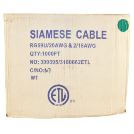 CA-1000W: 1000 FOOT SIAMESE RG59 CABLE WHITE