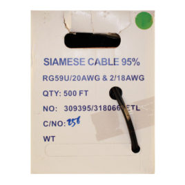 CA-500B: 500 FOOT SIAMESE RG59 CABLE BLACK