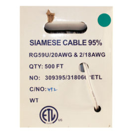 CA-500W: 500 FOOT SIAMESE RG59 CABLE WHITE