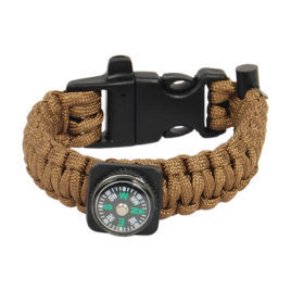 PCBRACELET: Paracord Bracelet with built in compass, flint bar, and emergency whistle