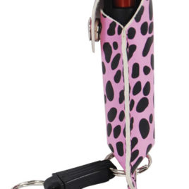 PS-1CBP: Pepper Shot 1/2 oz fashion leatherette holster and Quick Release Key Chain cheetah black/pink